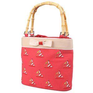 Airoldi Couture Red Nautical Bamboo Handle Bag